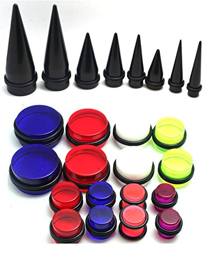 24pc 00g 7/16 1/2 9/16 5/8 3/4 7/8 1 Inch Gauges Ear Stretching Kit Black Red Blue White Purple Plus Instructions ()