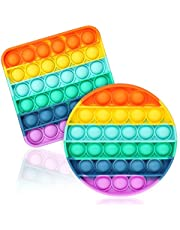 ASONA Circle + Square Rainbow Pop On It Push Pop Bubble Fidget Sensory Toy, Colorful Push Popping Silicone Game Toy Anxiety & Stress Reliever Autism Learning Materials for Kids Teens Adults (2 Pack)
