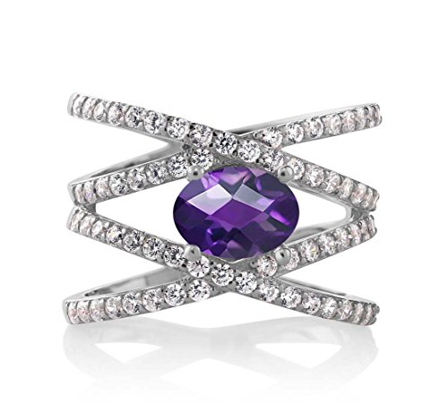 Purple Amethyst 925 Sterling Silver Women's Ring 1.93 Ctw Oval Checkerboard (Size ()