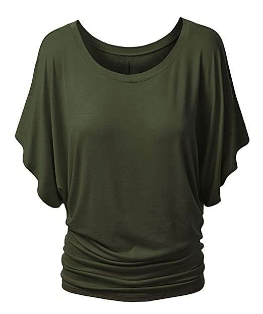 MILEEO Damen Sommer T Shirt Tops Einfarbig mit Stretch Rundhalsausschnitt  Kurzarm Fledermausärmel S-XL: Amazon.de: Bekleidung