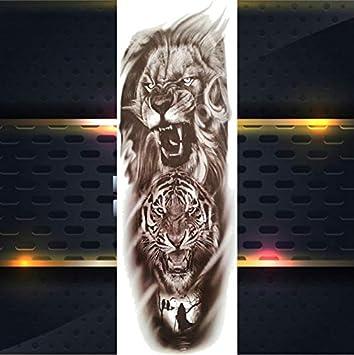 yyyDL Lobo completo flor brazo tatuaje temporal pegatinas para ...
