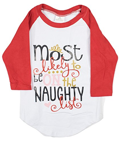 Novelty Kids T-Shirts for Boys and Girls in Toddler/Little Kid Sizes 18mo, 2T, 3T, 4T, 5/6 (Small (2T), Most Likely to be on The Naughty List)