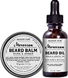 Majestic Pure Beard Oil & Beard Balm Set, All Natural Beard Conditioner - Style, Shape and Moisturize Beard, Mustache & Skin, Great Gifts For Men, - 1.7 oz + 1 oz -
