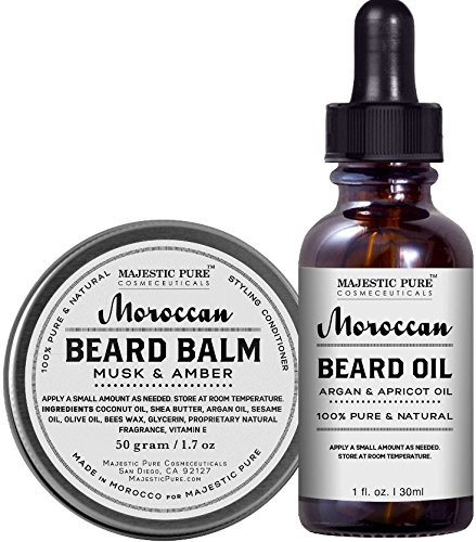 Majestic Pure Beard Oil & Beard Balm Set, All Natural Beard Conditioner - Style, Shape and Moisturize Beard, Mustache & Skin, Great Gifts For Men, - 1.7 oz + 1 - Styles Beard With Mustache