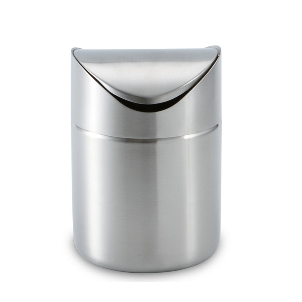 HaloVa Trash Can, Mini Desktop Garbage Bin, Premium Stainless Steel Wastebasket With Swing Lid for Car Home Kitchen Office Livingroom Bedroom