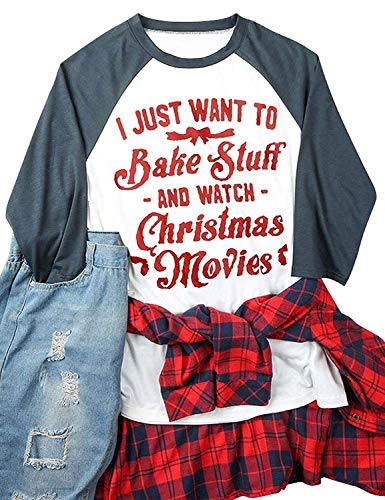 Women I Just Want to Bake Stuff and Watch Christmas Movies Cute Letters Graphic Shirt Baseball Raglan 3/4 Sleeve Tops Blouse (X-Large, Gray)]()