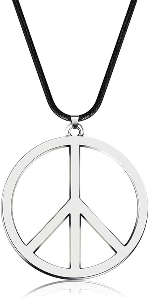 Accessoire de f/ête Collier Pendentif Signe de la Paix en m/étal des ann/ées 1960 des ann/ées 1970 Pywee Fournitures pour Vinaigrette Hippie