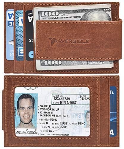 Traversible Genuine Leather Magnetic Front Pocket Money Clip Wallet RFID Blocking (Tan Vintage)