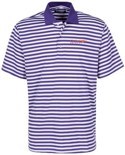 Bar Stripe Polo (Oxford NCAA Clemson Tigers Men's Bar Stripe Golf Polo, Grape/White, Large)