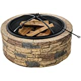 Sun Joe SJFP35-STN Cast Stone Base, Wood Burning Fire Pit w/Dome Screen and Poker
