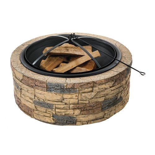 Sun Joe SJFP35-STN Cast Stone Base, Wood Burning Fire Pit w/Dome Screen and - Round Chimenea