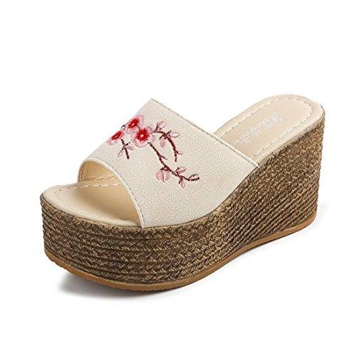 Pantofole Casual Da Donna In Pelle Da Spiaggia Estiva In Pelle X5 Beige
