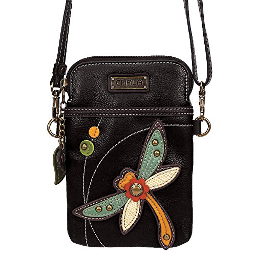 Chala Crossbody Cell Phone Purse - Women PU Leather Multicolor Handbag with Adjustable Strap - Dragonfly - Black ()
