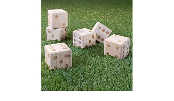 Amazoncom Hey Play Giant Wooden Yard Dice With Bag 7pc