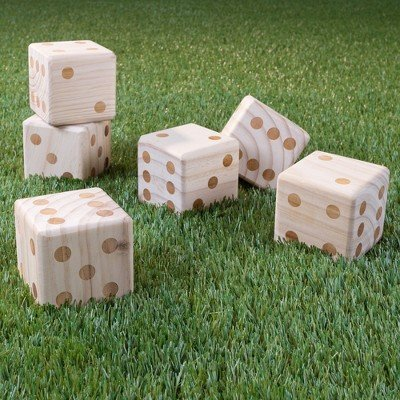 Hey! Play! Giant Wooden Yard Dice With Bag - 7pc (Heys Edge Case)