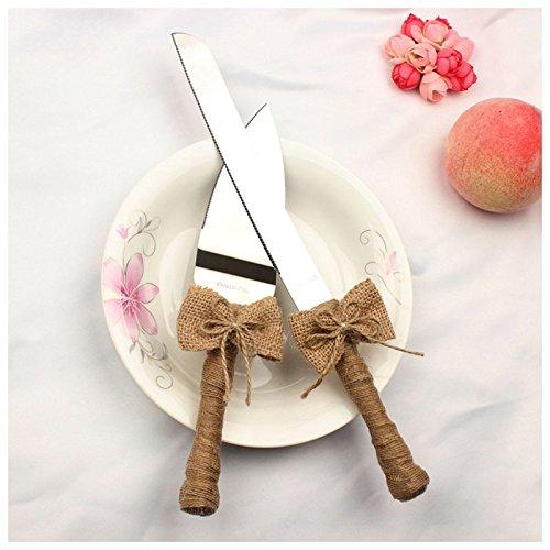 TOOGOO(R) 1 set of silver hemp rope + stainless steel hemp rope wedding cake knife shovel: 1 cake knife 20.4cm 2.4 cm handle length 11.5cm, a cake shovel 14 5cm handle length 11.5cm