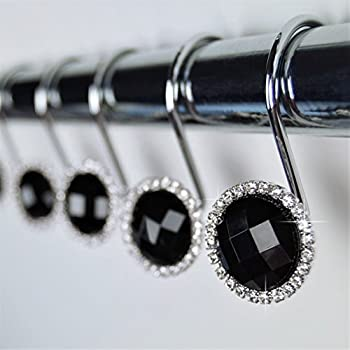 shower curtain hooks rings black cute decorative crystal gems bling rhinestones. Black Bedroom Furniture Sets. Home Design Ideas