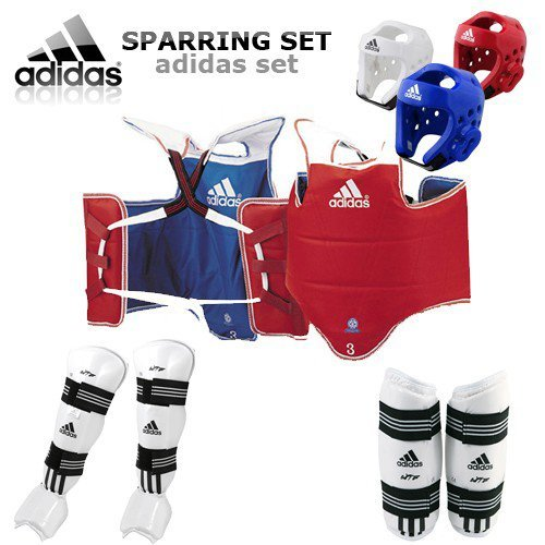 adidas [GTE Zone] TKD WTF Approved Taekwondo Sparring Gear Set & Free Double Mouth Guard (Red, Large)