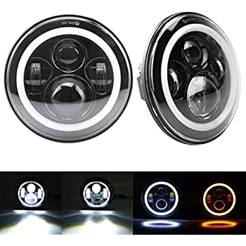 7 Inch Cree LED Headlights with White Halo Ring Angel Eyes+Amber Turn Signal Lights For Jeep Wrangler JK TJ CJ