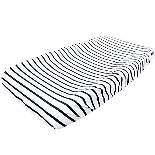 Premium Cotton Diaper Changing Pad CoverCity Black and White Stripes by Copper Pearl