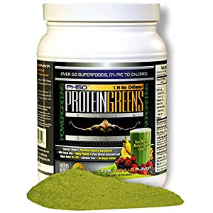 Protein Greens PowerGreens Shake Natural Vanilla Flavor, Fat Free with Whey Protein Isolate Blend and Over 50 SuperFoods ...