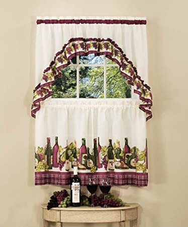 Achim Home Furnishings Chardonnay Tier and Swag Set, 57-Inch by 24-Inch, Burgundy Achim Imports CYTS24BU06