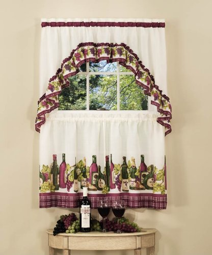 Achim Home Furnishings Chardonnay Tier and Swag Set, 57