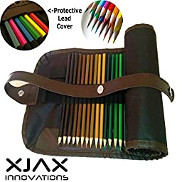 Colored Pencils for Adults & Kids by Xjax Innovations 48 Assorted Colours Drawing Art Supplies with Roll Up Washable Canvas Coloured Pencils Bag Pouch Wrap Set for Artist Sketch Drawing Oil Pencils