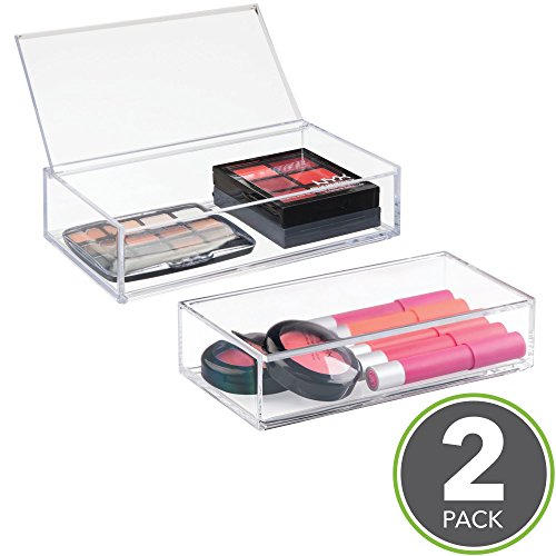 mDesign Small Makeup Organizer Box with Lid for Vanity Countertops, Cabinet - Store Makeup Brushes, Eye Shadow Palettes, Lipstick, Lip Gloss, Blush, Jewelry - Plastic, 2 Pack - Clear