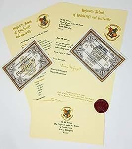 Regalo caliente HARRY POTTER HOGWARTS carta de aceptación con hecho a mano con sello de cera, Hogwarts Express boleto–Knight Bus Ticket–envío rápido–ideal para el ventilador de HOGWARTS en tu vida.