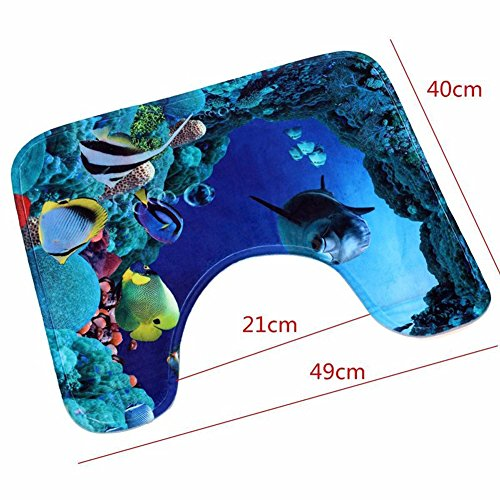 best 3 PCS Bathroom Rug Mat Set - Polyester Soft Bibulous Bathroom Rugs + Contour Mat + Lid Cover (dolphin)