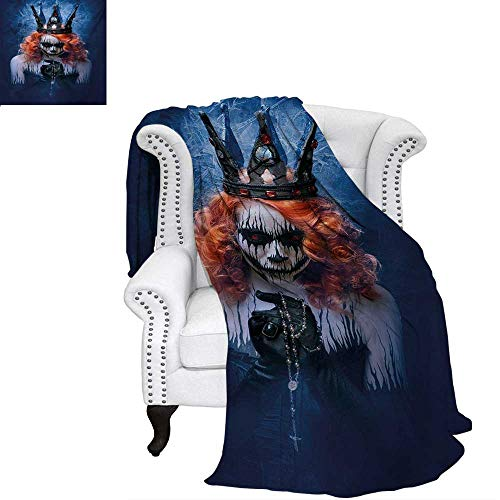warmfamily Queen Summer Quilt Comforter Queen of Death Scary Body Art Halloween Evil Face Bizarre Make Up Zombie Digital Printing Blanket 70