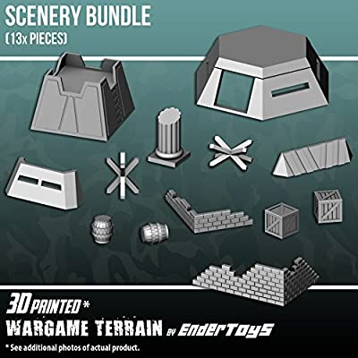 Scenery Bundle, Terrain Scenery for Tabletop 28mm Miniatures Wargame, 3D Printed and Paintable, EnderToys by Seus Corp Ltd.