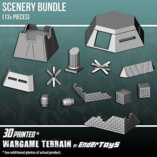 EnderToys Scenery Bundle, Terrain Scenery for Tabletop 28mm Miniatures Wargame, 3D Printed and Paintable (Axis Miniatures Allies And)