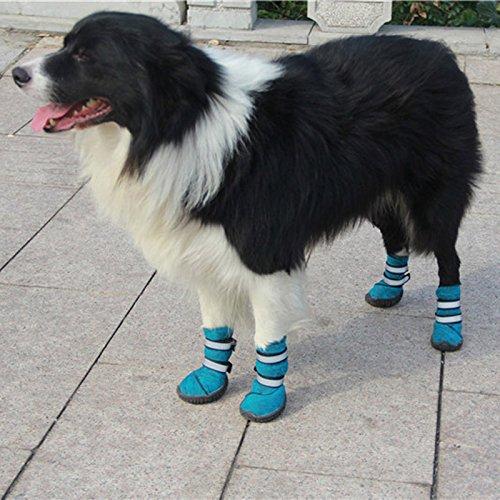 Semoss 4 Set Hunde Zubehör Haustier Schuhe Hunde Schuhe Pfotenschutz Boots Hunde Stiefel Wasserdicht,Blau,Größe:7.0 x 6.2 cm (L x B)