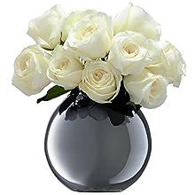 LSA International 16 cm jarrón diseño de Flores y Lunares, Platinum