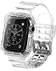 Transparent Bumper Silicone Watch Band & Case (44 mm) Clear Shockproof For Apple Watch Series 4/5/6/SE