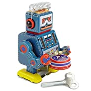 """Vintage Style 3.5"""" Tin Robot Drummer Mini"""