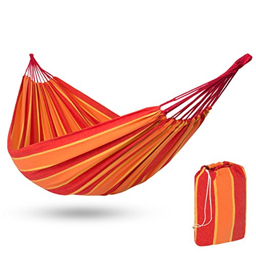Best Choice Products 2-Person Brazilian Double Hammock Bed w/ Carrying Bag for Backyard, Patio, Indoor Outdoor Use, Cross-Woven Cotton Fabric for Comfort - - Single Brazilian