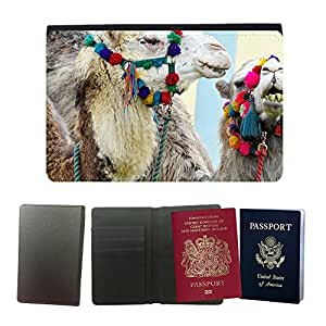 Hot Style PU Leather Travel Passport Wallet Case Cover // M00108997 Camels Blue Eyed Animals Desert // Universal passport leather cover
