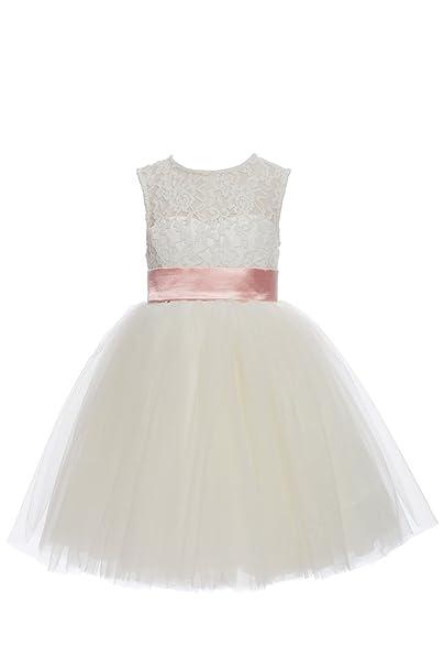 YiYaDawn corta encaje tul flores niña vestido vestidos de fiesta para niñas