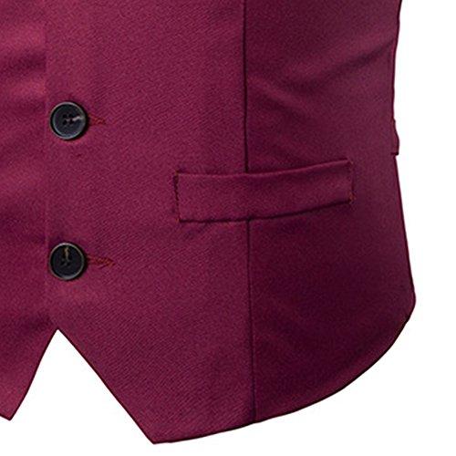 Robe Jolime Casual Mariage Élégant De Gilets Bordeaux Sans Slim Costume Homme D'affaires Manches Blazers Fit rnaqCcZxaw