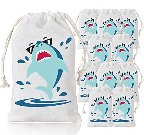 KREATWOW Shark Party Favor Bags Shark Goodie Drawstring Gift Bags for Kids Shark Party Supplies 10 Pack ()