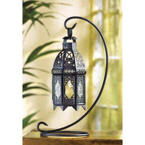 "Koolekoo Moroccan Tabletop Lantern Iron and Glass 4"" x 5.5"" x 13"" High **NEW**"