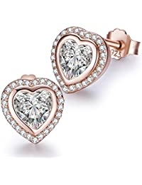 Sparkling One Love Heart Shaped Stud Earrings Rose- Gold Colored Gifts for Women and Girls