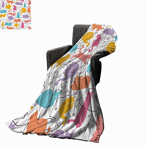 (Cat Lover Decor Collection Blanket Sheets Colorful Cats Jumping Playing Relaxing Feline Whisker Children Joy Line Art Anti-Static Throw 60