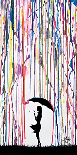Culturenik Marc Allante Girl Blowing Dandelion Under Umbrella Paint Rain Modern Contemporary Decorative Art Print (Unframed 12x24 Poster)
