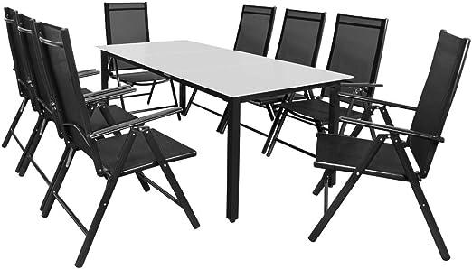 Casaria Salon de Jardin Aluminium Anthracite »Bern« 1 Table 8 chaises  Pliantes Plateau de Table en Verre dépoli Dossier réglable 7 Positions