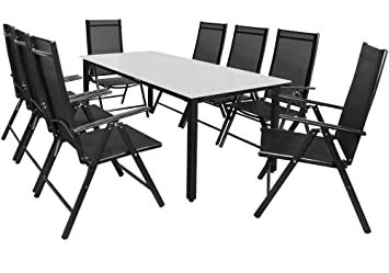 Casaria Salon de Jardin Aluminium Anthracite »Bern« 1 Table 8 ...