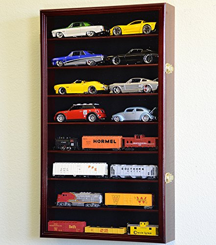 Download Large 1/24 Scale Diecast Model Car Display Case Cabinet Holder Holds 16 Cars 1:24 (Cherry Finish)